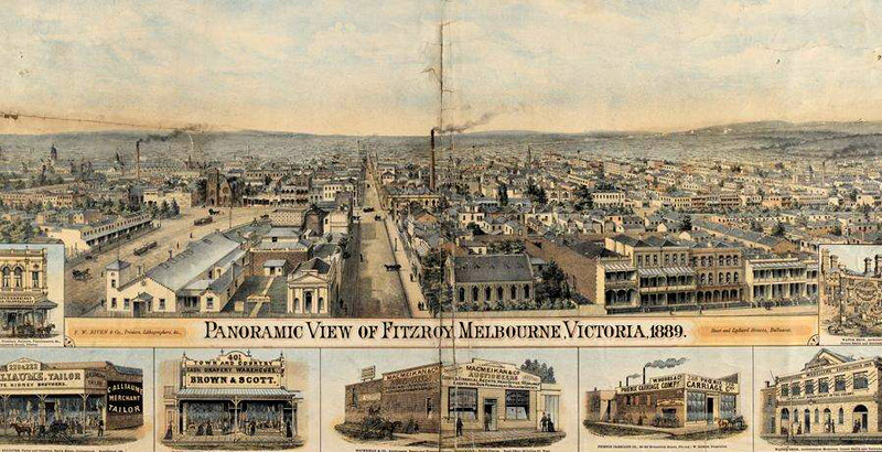 Panoramic View of Fitzroy, Melbourne, Victoria 1889