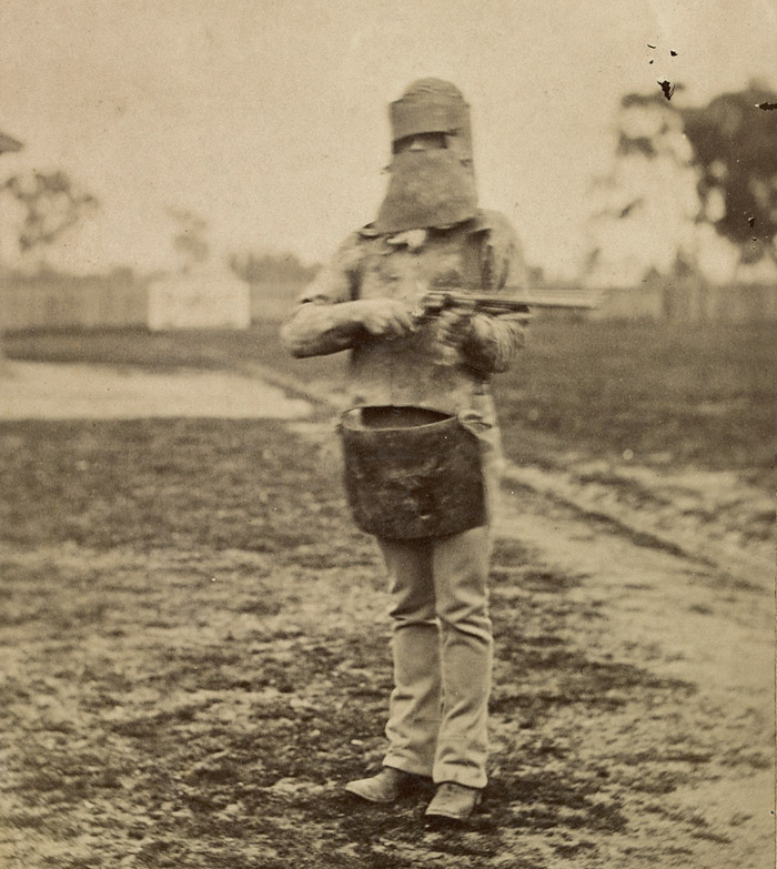 Policeman in Kelly armour, 1880